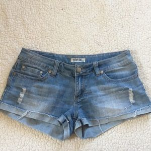 True bliss distressed jean shorts